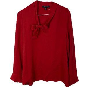 Judith & Charles 100% Silk Tie Neck Blouse Red 10